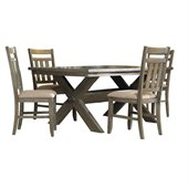 Powell Cafe 5 Piece Turino Dining Set in Grey Oak Stain