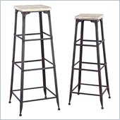 Powell Driftwood Iron Large and Medium Plant Stands