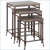 Powell Foundry 3-Piece Square Nested Tables in Antique Pewter