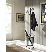 Powell Scroll Coat Rack with Umbrella Stand in Matte Black
