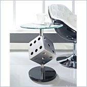 Powell Snake Eyes Metal and Glass End Table in Satin Plate