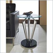 Powell Tripod Metal and Glass Table in Satin Plate