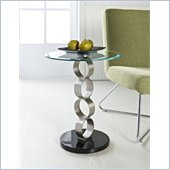 Powell Circles Metal and Glass Table in Satin Plated