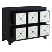 Powell Furniture Mirrored 6-Drawer Black Wood Console