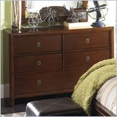 Powell Furniture New Albany 6-Drawer Dresser in Antique Walnut