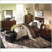 Powell Furniture New Albany 4 Piece Bedroom Set in Antique Walnut