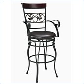 Powell Furniture Big & Tall Scroll with Leaves Bar Stool with Arms