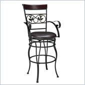 Powell Furniture Big & Tall Scroll with Leaves Counter Stool with Arms