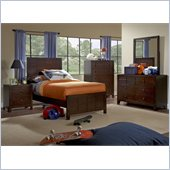 Powell Furniture Summerfield 4 Piece Bedroom Set in Dark Walnut