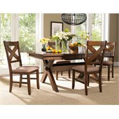Powell Furniture Kraven 5 Piece Dining Set in Dark Hazelnut