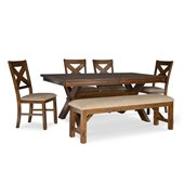 Powell Furniture Kraven 6 Piece Dining Set in Dark Hazelnut