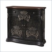 Powell Furniture 1 Drawer 2 Door Cabinet in Black Hand Paint