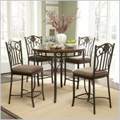 Powell Furniture 5 Pc Abbey Road Gathering Height Dining Set in Bronze