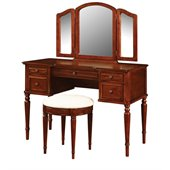 Powell Furniture Warm Cherry Wood Makeup Vanity Table with Mirror and Bench