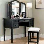 Powell Furniture Black Antique Wood Makeup Vanity Table with Mirror and Bench