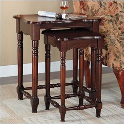 powell brown cherry nest table