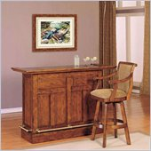Powell Furniture Brandon Wooden Home Bar Set in Distressed Warm Cherry