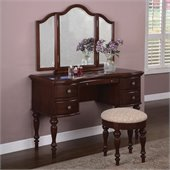 Powell Furniture Marquis Cherry Wood Makeup Vanity Table with Mirror and Bench