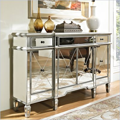 Powell Furniture Mirrored 3 Drawer 4 Door Console