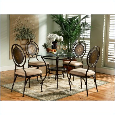 Powell Furniture Basil 5 Piece Round Dining Set in Antique Brown