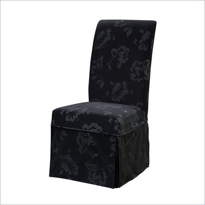 Powell Furniture Velvet Tone-on-Tone Floral Black Skirted Slip Over