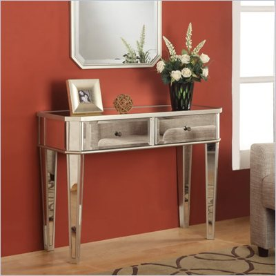 Powell Mirrored Console in Silver Wood
