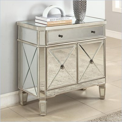 Powell Mirrored Console in Grey Wood