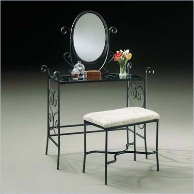Powell Furniture Garden District Matte Black Iron Makeup Vanity Table with Mirror and Bench