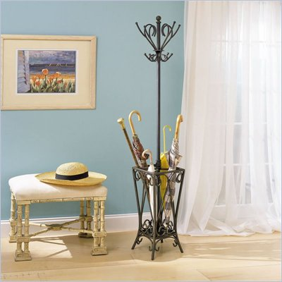 Powell Furniture Garden District Bronze and Gold Standing Coat Rack with Umbrella Stand
