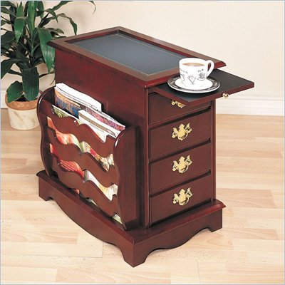 Powell Furniture Heirloom Magazine Cabinet End Table with Side Storage