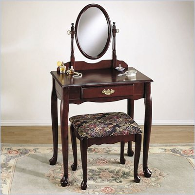 Powell Furniture Heirloom Cherry Wood Makeup Vanity Table, Mirror and Bench