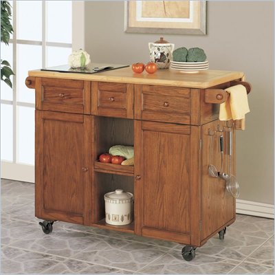 Powell Furniture Medium Oak Butler 3 Drawer Butcher Block Kitchen Cart with Granite Cutting Board
