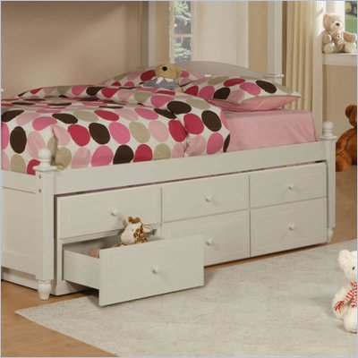Powell May 3 Drawer Trundle in Pure White Finish