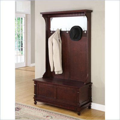 Powell Furniture Contemporary Merlot Hall Tree with Storage Bench