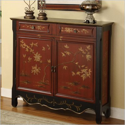 Powell Furniture Oriental 2-Door Console in Red 