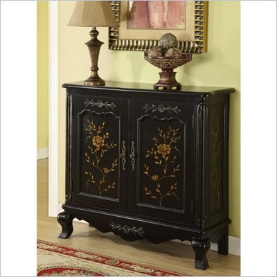 Powell Furniture Console with Hand Painted Doors in Black 