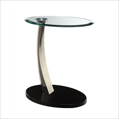 Powell Furniture Brushed Chrome Oval Chairside Table