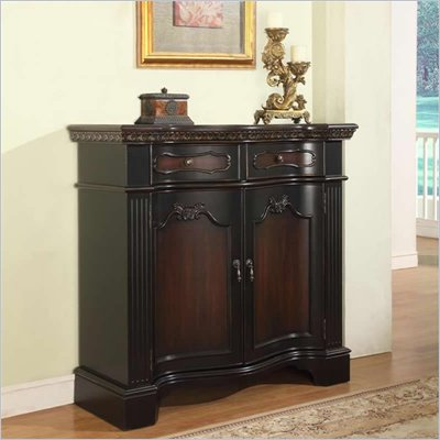 Powell Fluted Pilaster Door Cabinet in Black &amp; Cherry