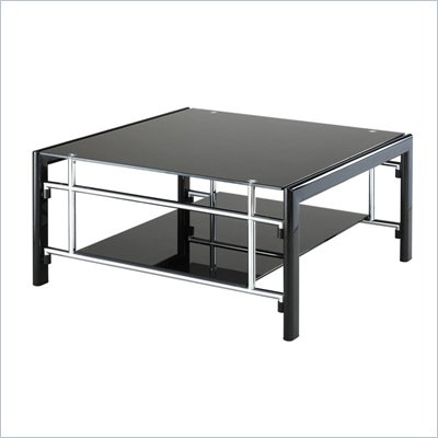 Powell Furniture Gloss Black & Gloss Silver Square Cocktail Table