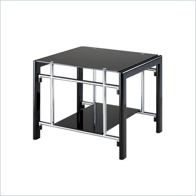 Powell Furniture Gloss Black Gloss Silver Rectangular End Table