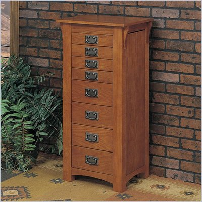 Powell Furniture Mission Oak Jewelry Armoire