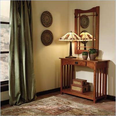 Powell Furniture Mission Oak Wood Sofa Table and Mirror Sets