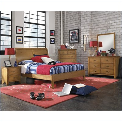 Powell Furniture Northbridge 4 Piece Twin Bedroom Set in Champagne