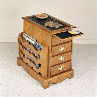 Powell Furniture Nostalgic Oak Wood End Table with Magazine Rack