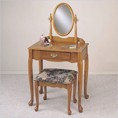 Powell Furniture Nostalgic Oak Wood Makeup Vanity Table with Mirror and Bench