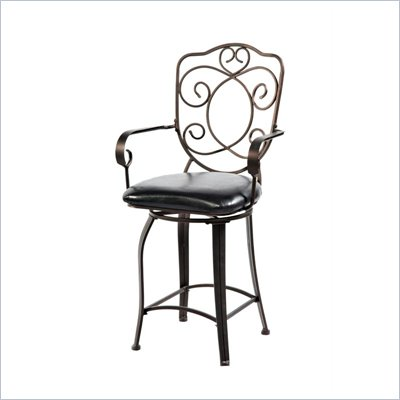 Powell Furniture Bronze with Muted Copper Scroll Back Counter Stool