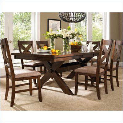 Powell Furniture Kraven 7 Piece Dining Set in Dark Hazelnut