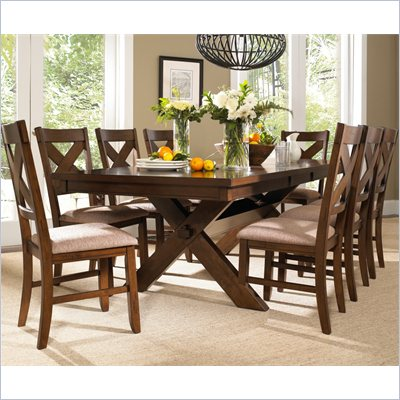 Powell Furniture Kraven 9 Piece Dining Set in Dark Hazelnut