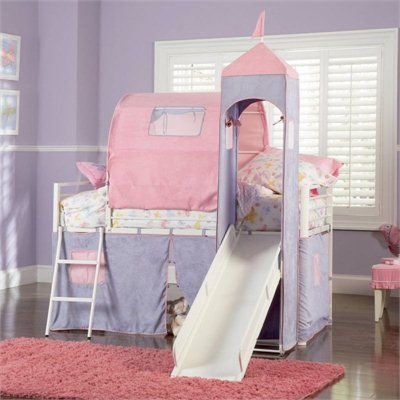 Powell Furniture Princess Castle Twin Size Metal Loft Bed with Tent and Slide