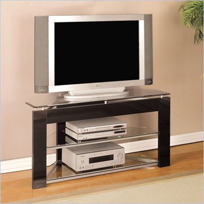 Powell Furniture Modern LCD/Plasma Corner TV Stand in Black Finish